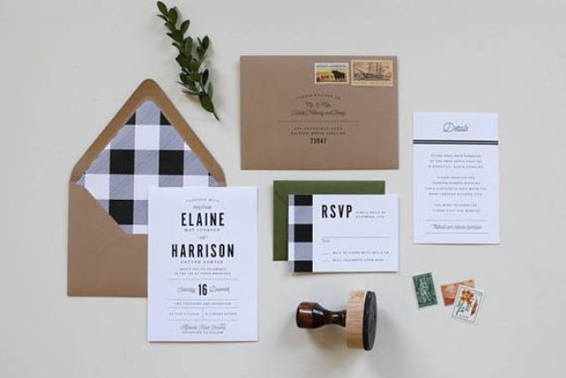 a rustic flannel wedding invitation suite in green, grey, black and with kraft paper