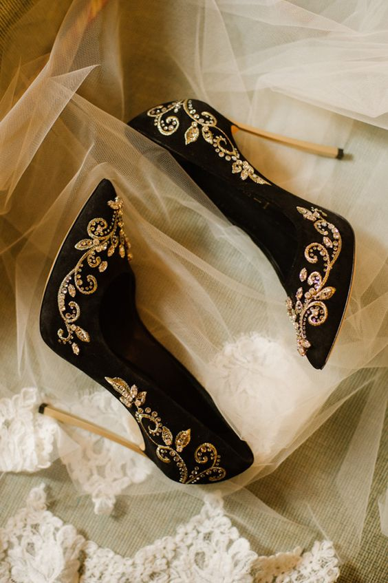 black suede stiletto heels with gold embellishments for the bride