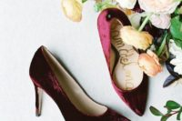 15 cranberry velvet heels are amazing for a colorful and textural touch, and this color is great to stand out in pale winter colors