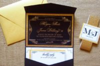 16 a gorgeous navy, white and gold glitter wedding invitation suite with a response card and a gold envelope