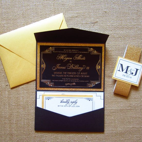 a gorgeous navy, white and gold glitter wedding invitation suite with a response card and a gold envelope