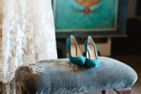 16 emerald suede heels to add a colorful touch to the winter bridal look