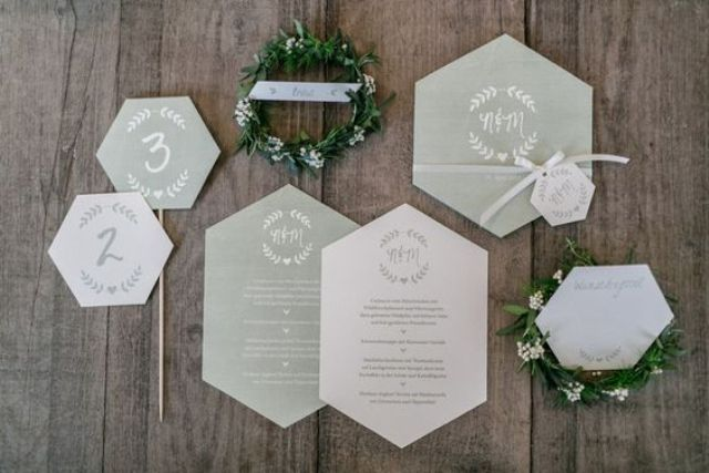 grey and white geo shaped wedding invitations for a modern geo-inspired wedding