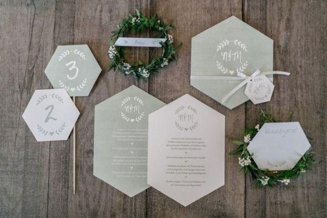 Grau und weiss geo-geformte Hochzeits-Einladungen für ein modernes geo-inspirierte Hochzeit