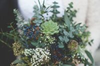 17 a gorgeous eucalyptus, privet berries, succulents and leaves wedding bouquet with blush ribbons