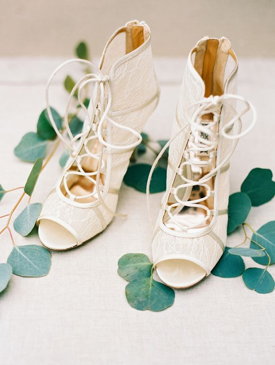 lace peep toe lace up booties for a romantic and very fashionable bridal look