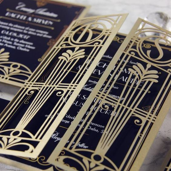 laser cut gatefold wedding invitations in navy, gold and white
