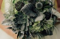 18 a greenery wedding bouquet with leaves, succulents, air plants and various textural foliage