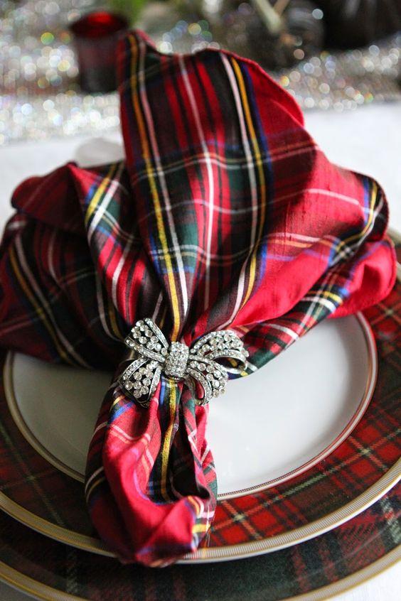 a pretty plaid napkin with a rhinestone bow holder is a gorgeous idea for a festive wedding