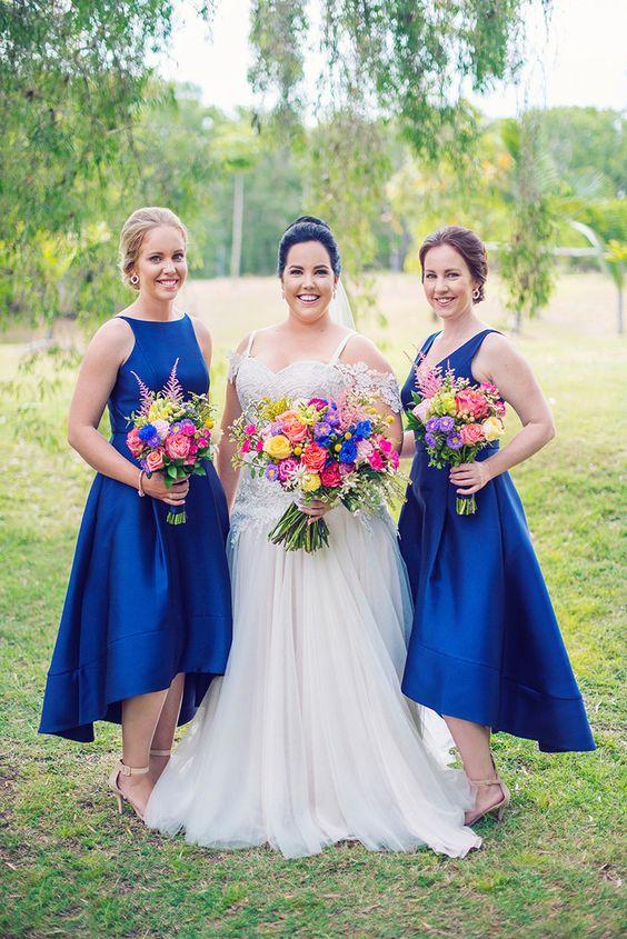 mismatched royal blue high low bridesmaids' dresses