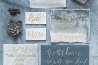 moody watercolor wedding stationary