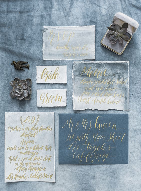 moody watercolor grey and greyish blue wedding invitation suite with yellow calligraphy