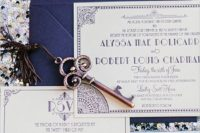 18 navy and purple Great Gatsby wedding invitation suite, these colors aren't typical but look great