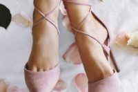 18 pink suede lace up heels look very romantic and girlish and will add a colorful touch