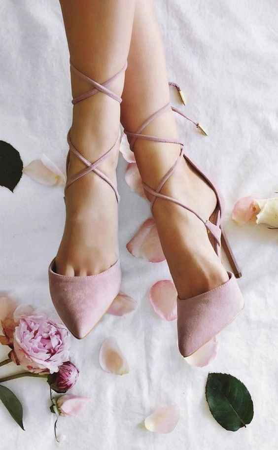 pink suede lace up heels look very romantic and girlish and will add a colorful touch