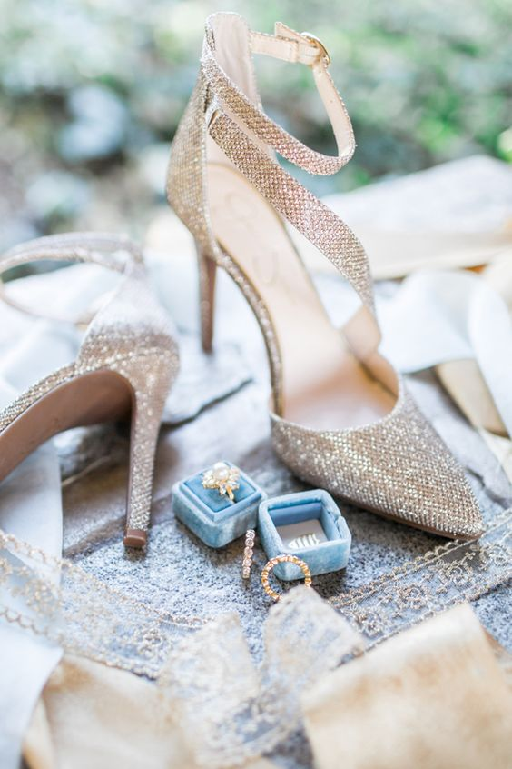 all sparkling silver strappy bridal heels for a 1920s inspired wedding
