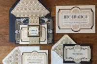 19 pretty navy and gold 1920s wedding invitations would be perfect for a Great Gatsby inspired wedding