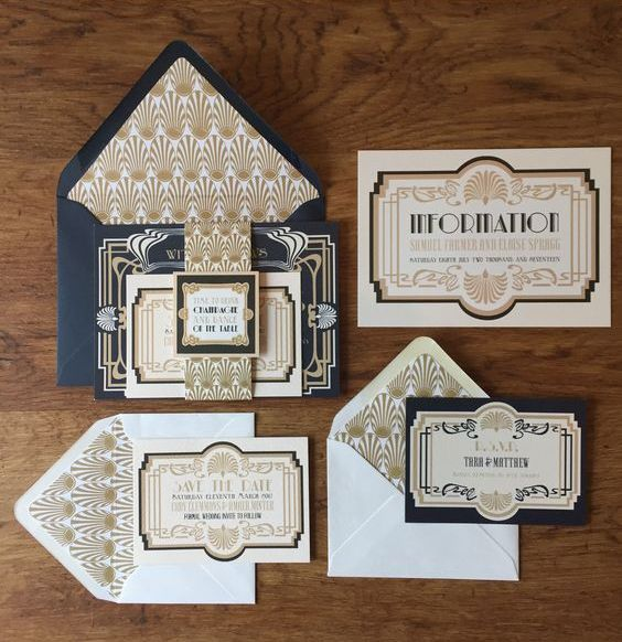 pretty navy and gold 1920s wedding invitations would be perfect for a Great Gatsby inspired wedding