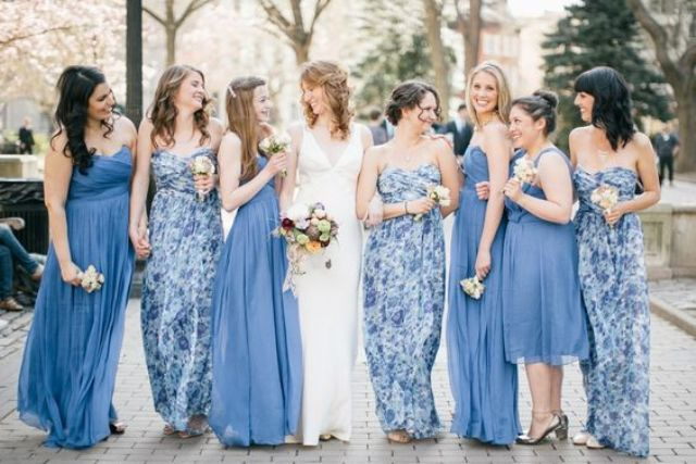 trägerloses blaues maxi-Kleider und floral print in blau trägerlos Abendkleider