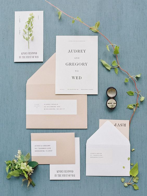 blush and white wedding stationery with black letters for a modern spring wedding