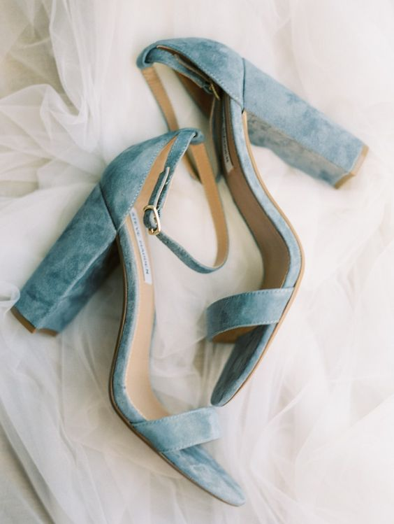 dusty blue heeled wedding sandals are very comfy for walking cause of stable heels