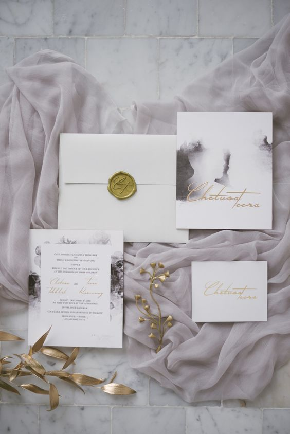 lilac marble watercolor wedding invitation suite with gold letters and seals for a romantic wedding