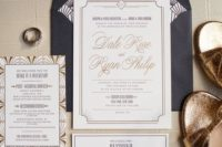 20 neutral wedding invites with 20s inspired prints and a navy envelope