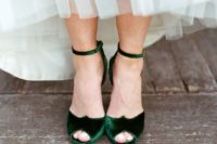 21 emerald velvet ankle strap peep toe wedding shoes are perfect for a fall bride
