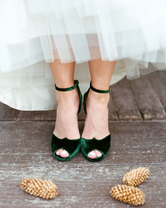 emerald velvet ankle strap peep toe wedding shoes are perfect for a fall bride