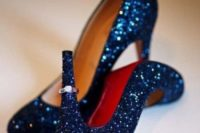 21 navy glitter wedding shoes for a glam or New Year wedding