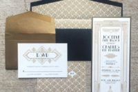 21 navy, gold and white art deco wedding invitations with 20s inspired prints