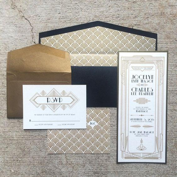 navy, gold and white art deco wedding invitations with 20s inspired prints