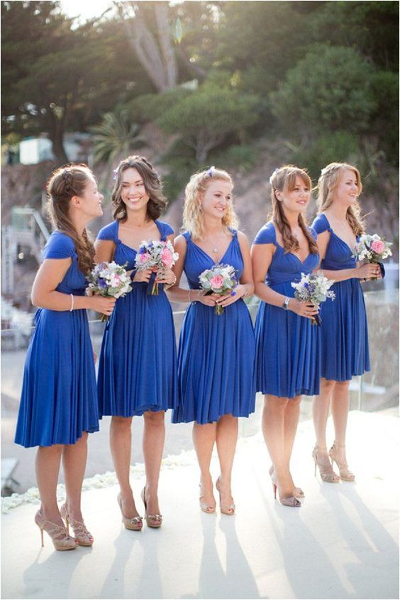 over the knee royal blue bridesmaids' dresses