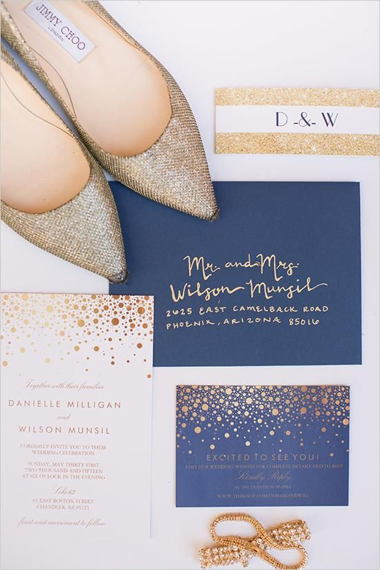gold glitter and navy wedding invitations for a polka dot print for a cheerful glam wedding