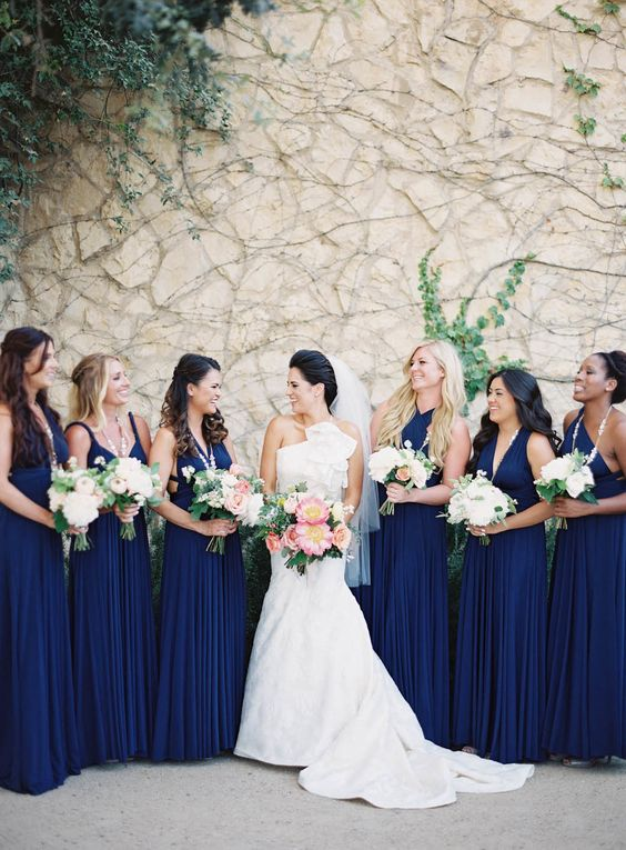 Mismatched Navy Blue Bridesmaids Dresses Are Pure Elegance