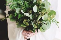 22 mix some eucalyptus and herbs in with your evergreens for a great smelling and modern looking bouquet