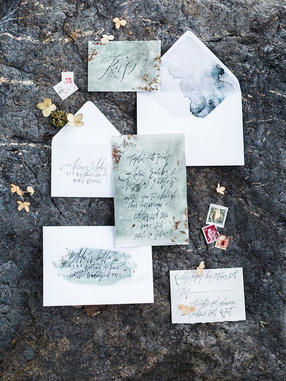 watercolor green and blue wedding invites with calligraphy for a coastal wedding