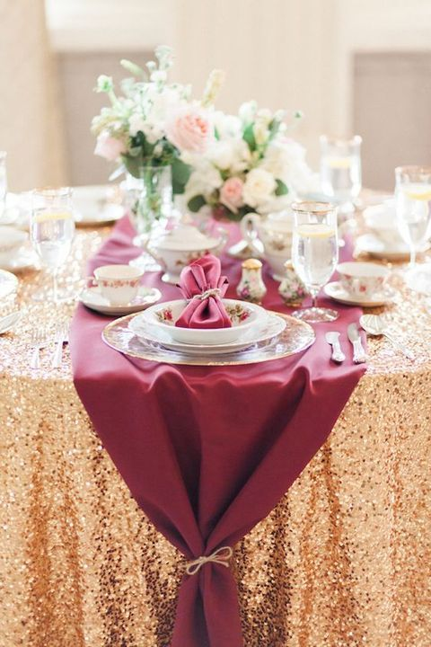Picture Of A Gold Sequin Tablecloth, A Burgundy Table Runner For A Glam  Wedding Table Setting
