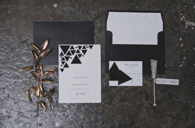 a modern geometric wedding invitation suite for a minimalist New Year's Eve wedding