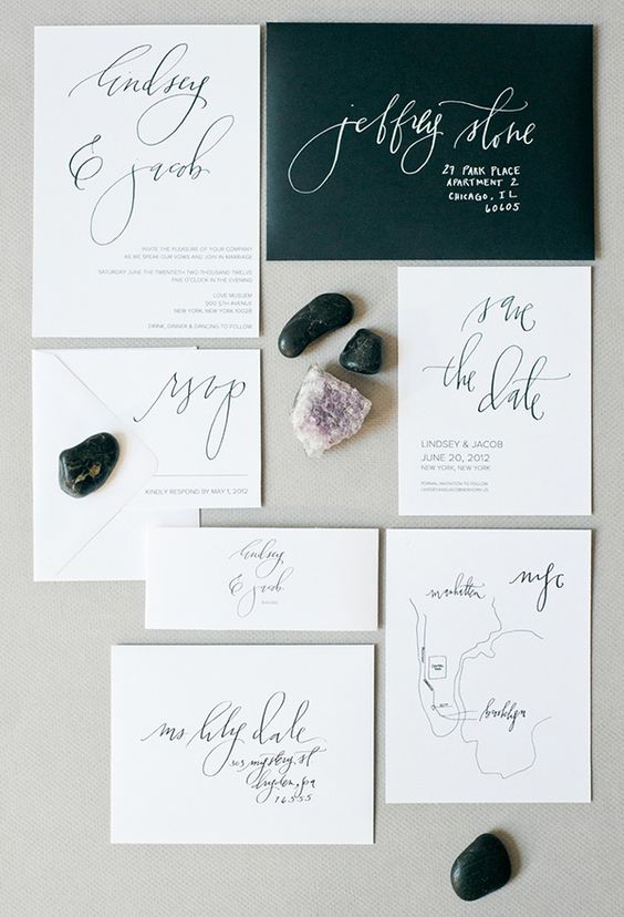 a simple black and white wedding stationery set with calligraphy is a timeless idea to rock