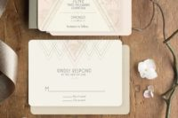 23 art deco wedding stationery with custom wording and a subtle color accent