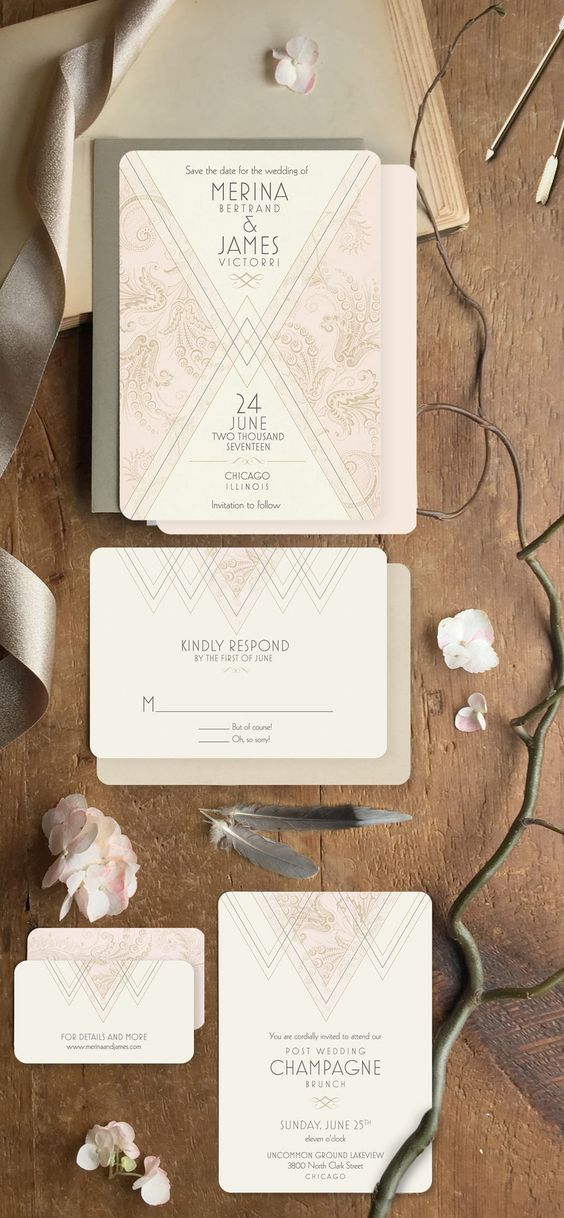 art deco wedding stationery with custom wording and a subtle color accent