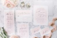 23 blush watercolor wedding invitations with a raw edge and calligraphy for a sweet glam wedding or a beautiful garden one