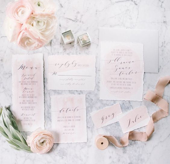 blush watercolor wedding invitations with a raw edge and calligraphy for a sweet glam wedding or a beautiful garden one