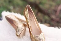 23 gold glitter wedding heels are ideal for any glam or art deco bridal look or for a sparkly New Year's Eve wedding