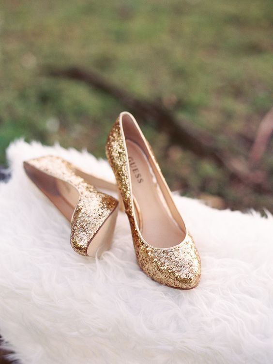 gold glitter wedding heels are ideal for any glam or art deco bridal look or for a sparkly New Year's Eve wedding
