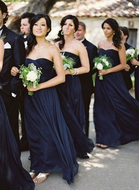 midnight blue strapless sweetheart neckline bridesmaids' gowns