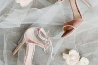23 pink velvet lace up heels look very chic, trendy and finish off your bridal look with a girlish touch