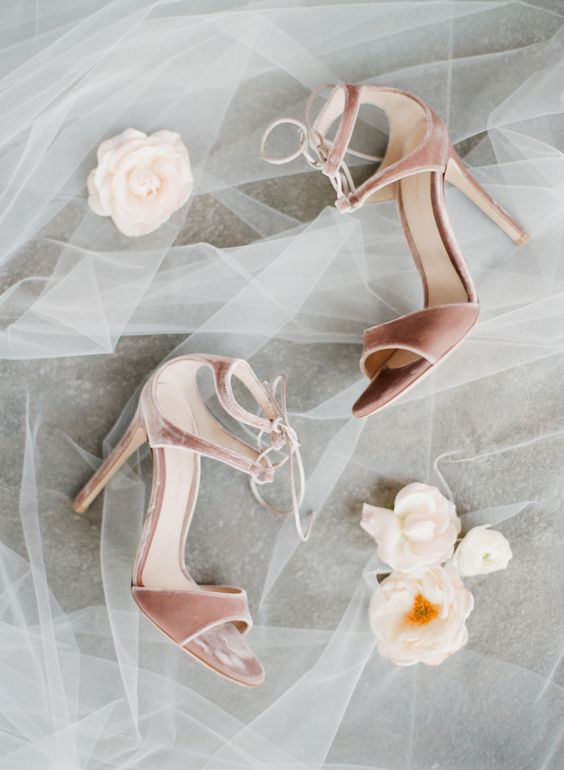 pink velvet lace up heels look very chic, trendy and finish off your bridal look with a girlish touch