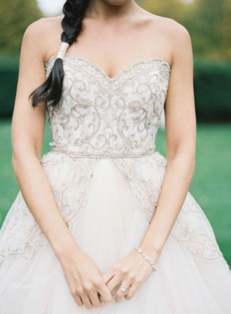 strapless embellished bodice winter wedding dress looks very cute and romantic